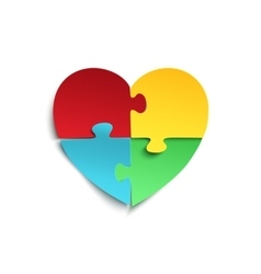 Jigsaw puzzle pieces in form of heart vector