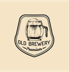 kraft beer mug logo lager cup retro sign hand vector image vector image