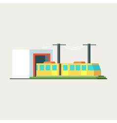 Metro train exiting tunnel vector