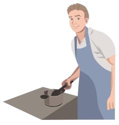 Modern man the kitchen hero vector