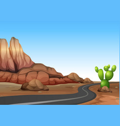 Nature scene with empty road in desert land vector
