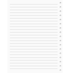 notebook paper sheet vector image vector image