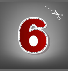 number 6 sign design template element red vector image vector image