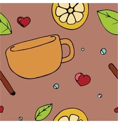 Pattern with teacup vector image vector image