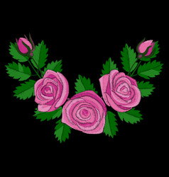 Pink rose corner embroidery vector