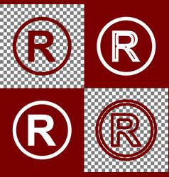 Registered trademark sign bordo and white vector