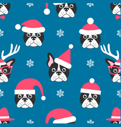 Seamless pattern with french bulldogs with santa vector