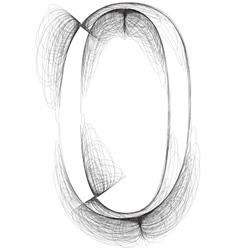 Sketch font number 0 vector