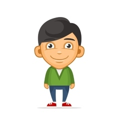 Smiling Boy Wearing Green Sweater vector image
