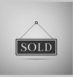 Sold sign on grey background sold sticker vector