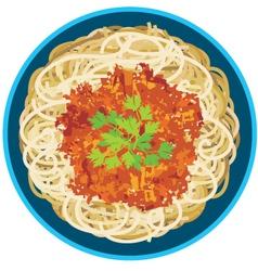 Spaghetti in a plate vector