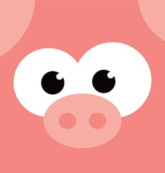 Square pig face icon button vector