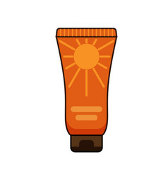 Sun protection cream tube summer vector