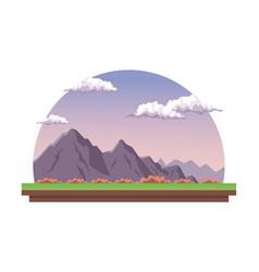 white background with dawn landscape in half round vector image