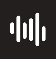 White icon on black background sound and vector
