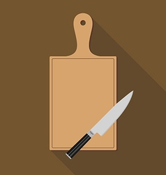 Wooden chopping board and knife vector
