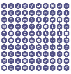 100 funny icons hexagon purple vector image vector image