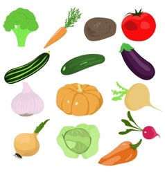 set of cartoon vegetables vector image