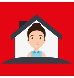 Woman house insurance red vector