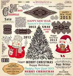 Collection of christmas ornaments and decor vector
