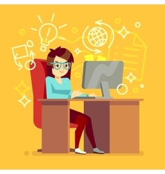 Creative girl work at home office with computer vector