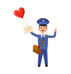 Valentine post and mailman with heart balloon vector