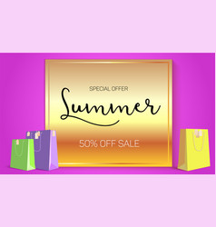 Summer sale ad selling banner on gold background vector