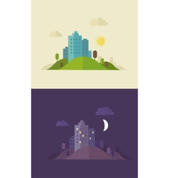 Flat design day and night sity vector