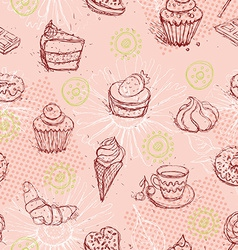 Funny seamless pattern with ice cream coffee cake vector