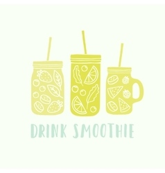 Three different mason jars with smoothie vector