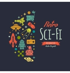 Retro sci-fi decorating design vector