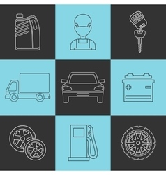 Outline set auto service icons vector