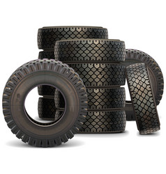Old truck tire set 2 vector