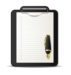 Clipboard and ink pen vector