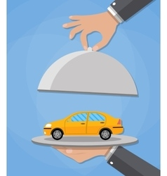 Serve cloche with yellow car vector