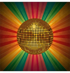 Retro disco ball background vector
