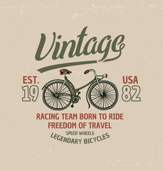 bicycle bike or velocipede travel vector image vector image