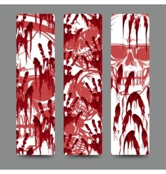 Bloody handprints and skull bookmarks set vector image