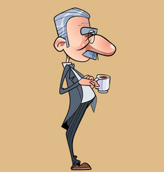 cartoon funny long nosed man in a tailcoat vector image vector image