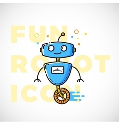 Cute Fun Robot Outline Flat Style vector image