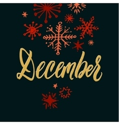 December black background hand drawn calligraphy vector