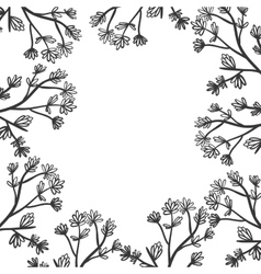 Floral border with stem and ramifications vector