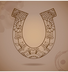 horseshoe with floral ornament vector image vector image