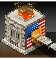 Isometric stock exchange burning dollars vector