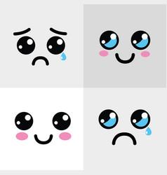 kawaii happy and sad face icon vector image vector image