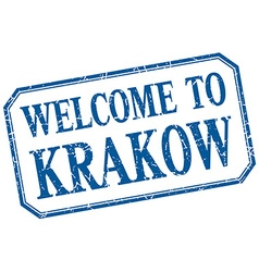 Krakow - welcome blue vintage isolated label vector