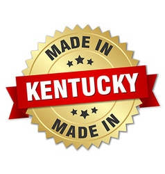 made in Kentucky gold badge with red ribbon vector image vector image