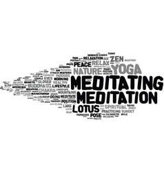 Meditating word cloud concept vector