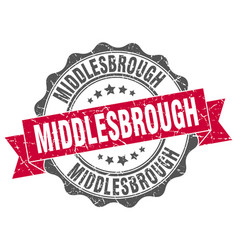 Middlesbrough round ribbon seal vector