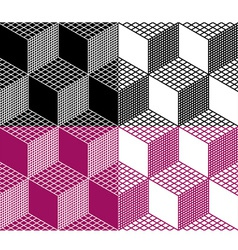 Monochrome seamless 3d cube pattern vector